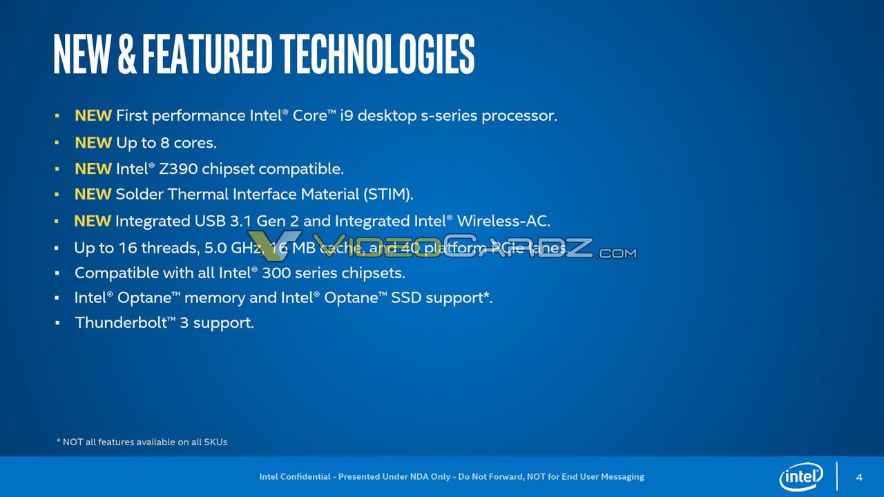 پردازنده نسل 9 اینتل