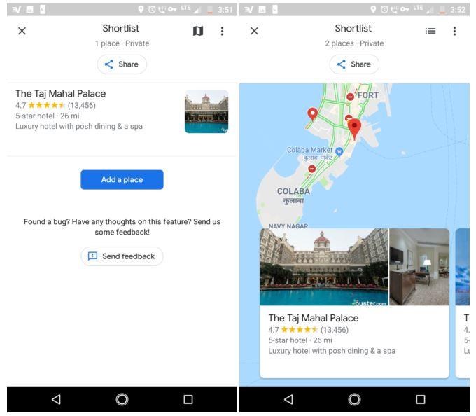 قابلیت Shortlist در گوگل مپس